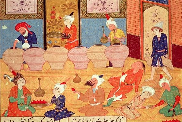 Fol.33v, Detail of a banquet with musicians, from a book of poems by Hafiz Shirazi