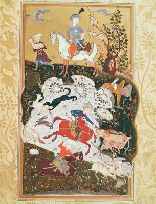 Hunting Scene from 'The Book of Love', Safavid Dynasty