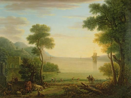 Classical landscape with figures and animals, Sunset, 1754