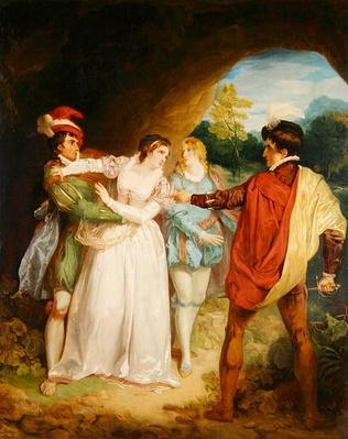 Valentine rescuing Silvia from Proteus, from William Shakespeare's 'The Two Gentlemen of Verona', 1792