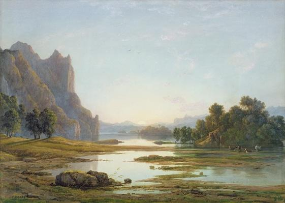 Sunset over a River Landscape, c.1840