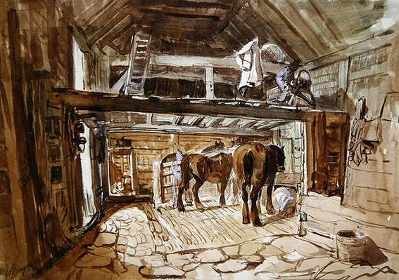 Interior of a Stable, with Two Horses Feeding