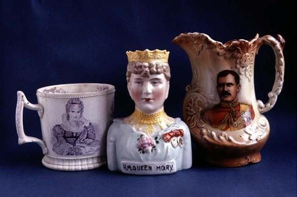 Commemorative Ware including a vase made in memory of Queen Mary