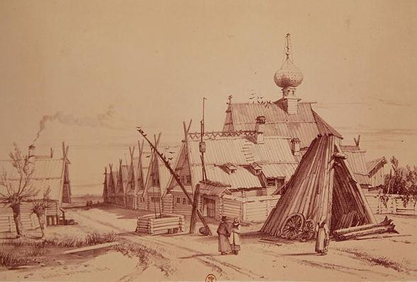 Village on route to Moscow, illustration from, 'Voyage pittoresque en Russie', 1839