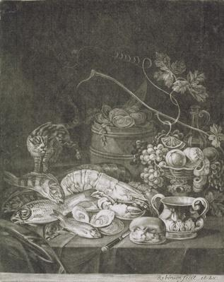 Banquet Piece with Lobsters, Fish and Cat