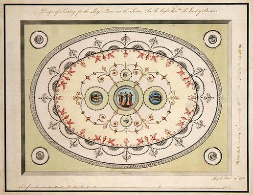 Design for the ceiling in the Ladies Room, Headfort House, 1772