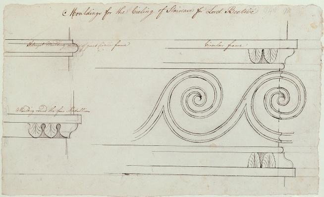 Design for the mouldings on the staircase, Headfort House, 1772