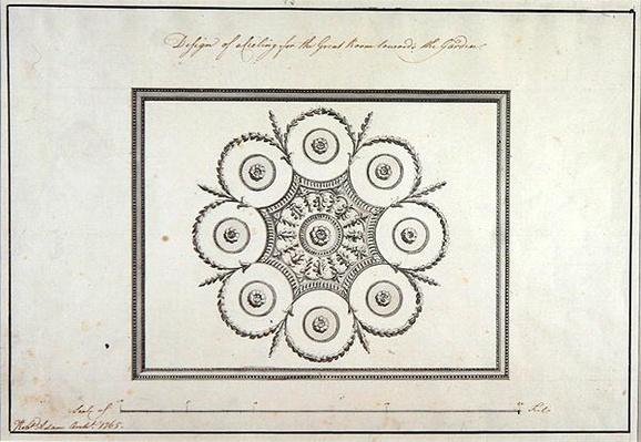 Design for the ceiling of the Great Room, Langford House, 1765