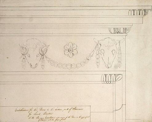 Design for the staircase entablature, Headfort House
