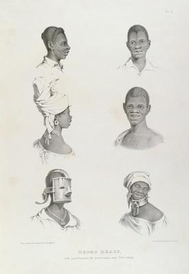Negro Heads with punishments for Intoxication and Dirt-eating