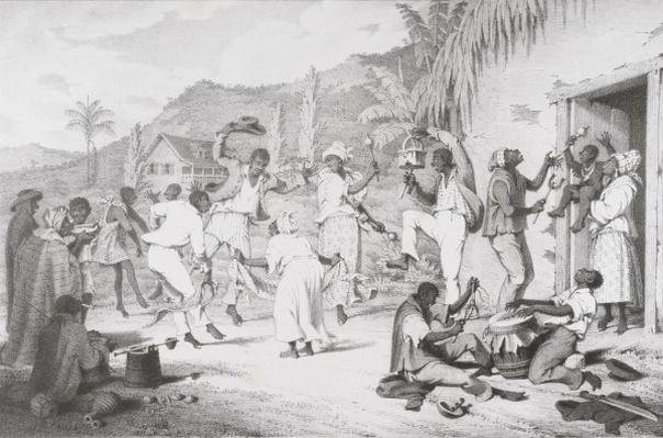 Negro Dance, from 'West India Scenery with Illustrations of Negro Character', printed by R. Jennings, 1836