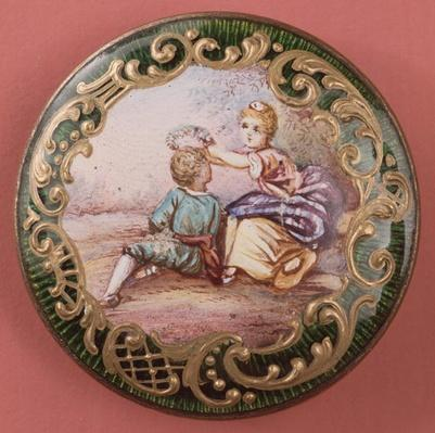 Enamelled and gilt button, French, mid-19th century