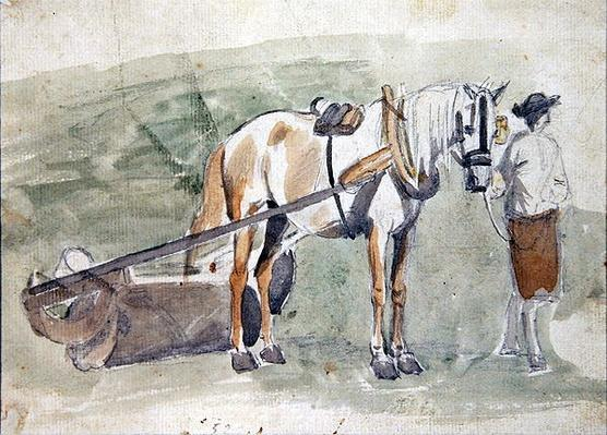 Man with a horse harnessed to a roller