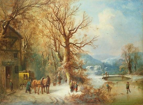 Coach and Horses in a Snowy Landscape