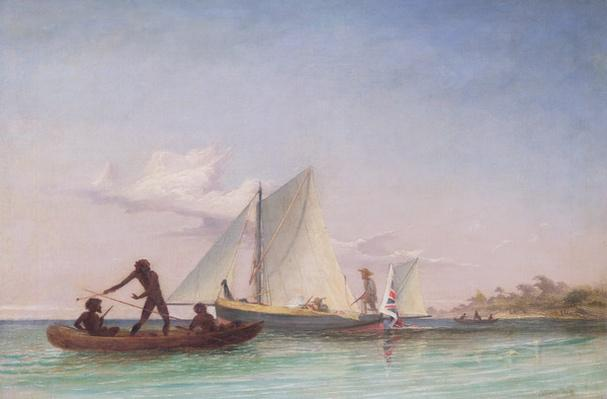 The Long Boat of the Messenger attacked by Natives