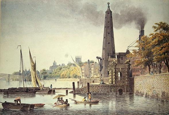 York Buildings, looking towards Westminster, with a View of the Water Tower, 1797