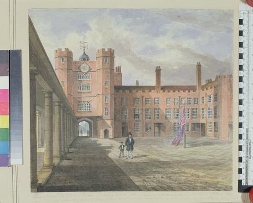 View of the courtyard at St. James's Palace, 1841