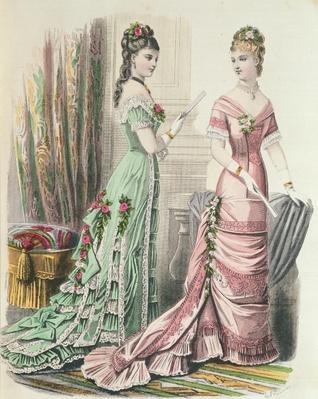 Paris fashion, from 'Journal des Demoiselles' published Dupuy Paris, 1878
