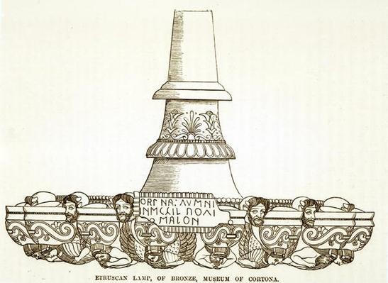 Etruscan bronze lamp in the Museum of Cortona
