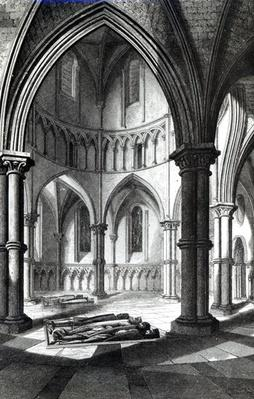 Interior of the Temple Church showing the effigies of the Knights