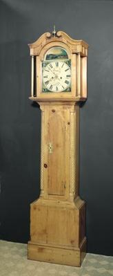 Long-case clock, with enamel painting of a train on the dial, c.1850