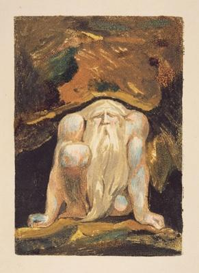 A naked man with a long beard kneeling with one knee raised and both hands on the ground, plate 8 from 'The First Book of Urizen', 1794