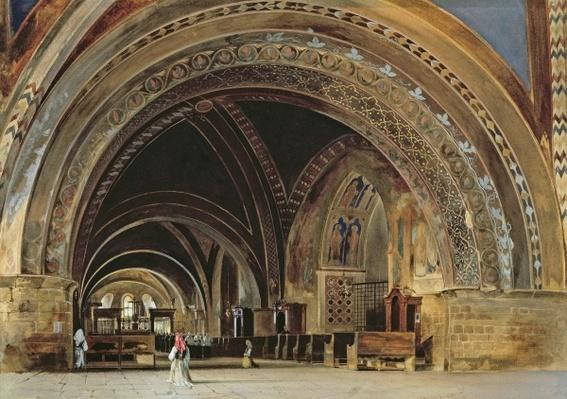 The Interior of the Lower Basilica of St. Francis of Assisi, 1839