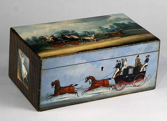 A Cigar Box painted with Scenes from 'Taglioni' Prints, c.1840