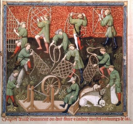 Ms Fr 616 fol.53v Men with nets, from the Livre de la Chasse by Gaston Phebus de Foix