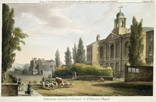 Tottenham Court Road Turnpike and St. James's Chapel, from 'Ackerman's Repository of Arts' published in London 1812