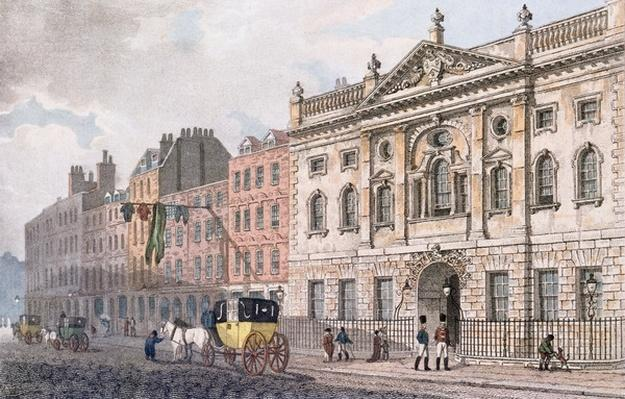 The South front of Ironmongers Hall, from 'R. Ackermann's Repository of Arts' 1811