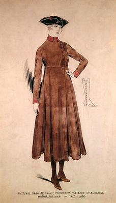 Uniform worn by women porters at the Bank of England 1917-20