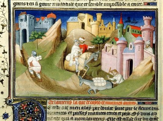 Ms Fr 2810 f.110v Travellers outside Peking with Odorico de Pordenone, from the Livre des Merveilles du Monde, c.1410-12