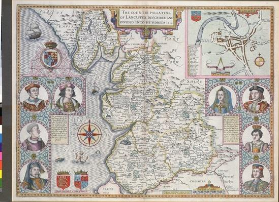 Map of Lancaster divided into hundreds, 1610