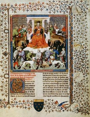 Ms Fr 616 fol.13 Preparing for the hunt, from the Livre de la Chasse by Gaston Phebus de Foix