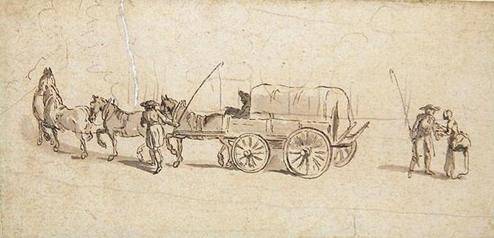Figures with a Wagon and Horses