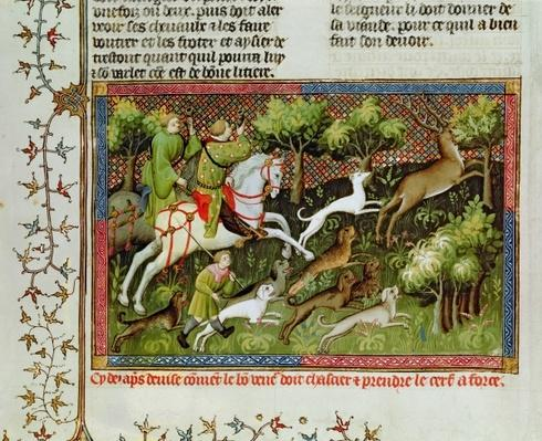 Ms Fr 616 fol.77 Stag Hunting, from the Livre de la Chasse by Gaston Phebus de Foix