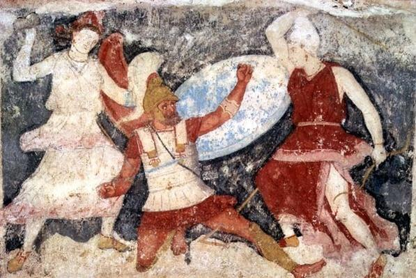 Two Amazons in combat with a Greek, from Tarquinia, 370-360 BC