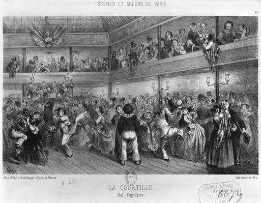 La Courtille, popular dance, engraved by Yves
