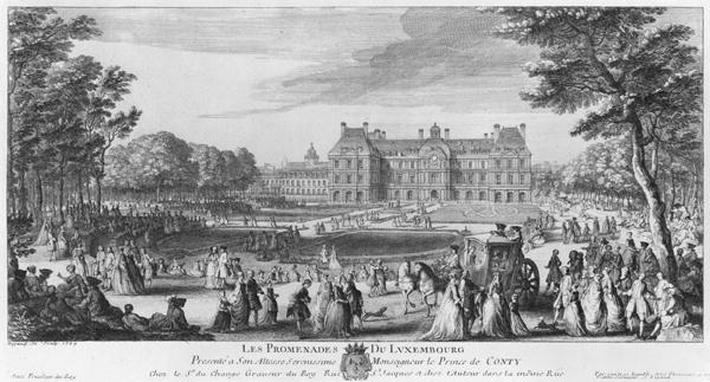 Walking in the Luxembourg gardens, 1729
