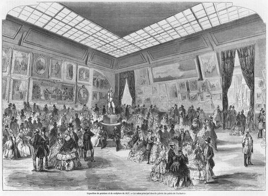 Salon of painting and sculpture of 1857, the main room in the Palais de l'Industrie gallery, Paris, 1857