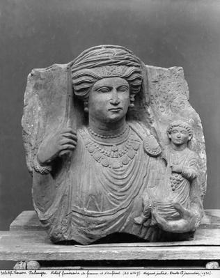 Funerary relief of mother and child, from Palmyra, Syria, third century CE