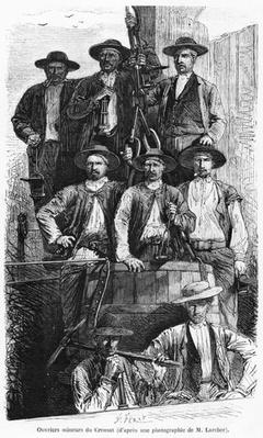 Coal Miners of Le Creusot during the Second Empire, illustration from 'Les Grandes Usines' by Julien Turgan, c.1880
