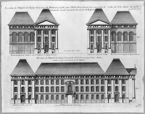 Elevation of the Hopital des Enfants Trouves, engraved by Pierre Patte