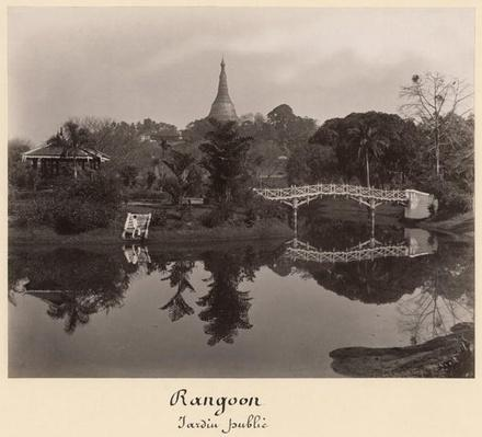 Island pavilion in the Cantanement Garden, Rangoon, Burma, late 19th century