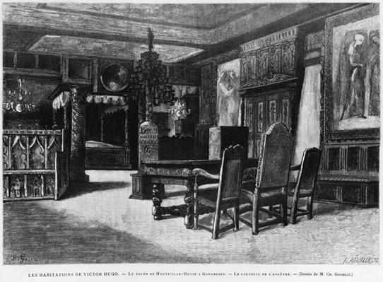 Homes of Victor Hugo, the lounge at Hauteville house in Guernsey, the armchair of the ancestor, engraved by Fortune Louis Meaulle