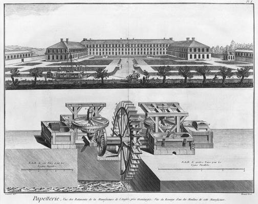 A paper mill, illustration from the 'Encyclopedie des Sciences et Metiers' by Denis Diderot