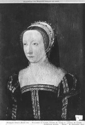 Portrait presumed to be Francoise d'Orleans Rothelin, Princess of Conde, 1550 oil on panel)