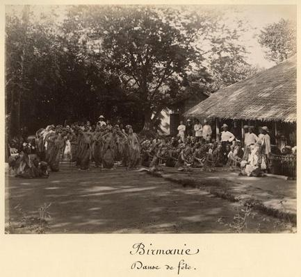 Burmese dancers celebrating, Burma, late 19th century