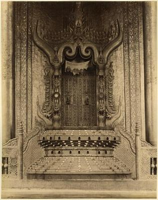 The The-ha-thana or the Lions' throne in the Myei-nan or Main Audience Hall in the palace of Mandalay, Burma, late 19th century